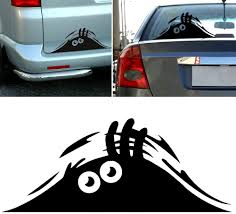 Amazon Com Peeking Monster Funny Scary Eyes Decal Sticker For Car Walls Windows Graphic Vinyl Car 11 Inches Black Automotive
