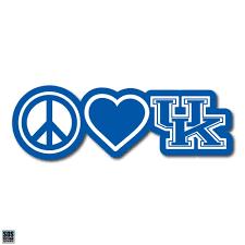 University Of Kentucky Peace Love Uk Vinyl Decal 6 Zokee