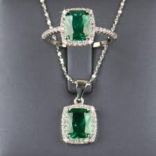 sterling silver natural emerald jewelry