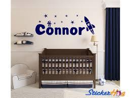 Rocket Astronaut Wall Decal Name Monogram Boys Kids Wall Decor