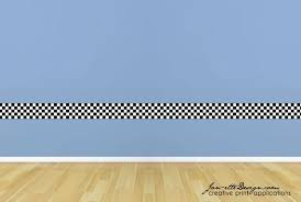 Wall Decals Kids Checkered Wall Border Racing Wall Art Race Etsy