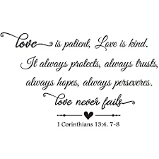 Amazon Com Zssz Love Is Patient Love Is Kind It Always Protects Always Trusts Always Hopes Always Perseveres Love Never Fails 1 Corinthians 1 3 4 7 8 Bible Verse Quotes Scripture Vinyl Wall Decal