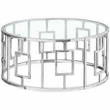 round glass top coffee table in chrome