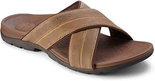mens leather slide sandals