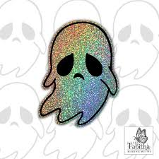 Sparkly Holographic Cute Spooky Ghost Vinyl Decal Sticker Etsy