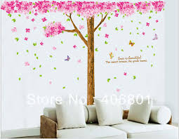 Large 210 X225cm Pink Cherry Blossom Tree Wall Decals Pvc Removable Art Home Wall Stickers Kids Room Nursery Wall Decor Decal Wall Sticker Sticker Acrylicdecal Sticker Paper Aliexpress