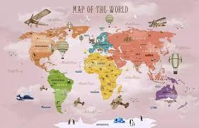 colorful kids world map wallpaper mural