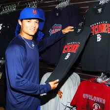 L.J. Mazzilli shows off some of the great Brooklyn Cyclones t-shirts  available in the Team Store. | Cyclone, Play ball, Ny mets
