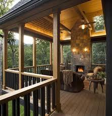 covered deck with fireplace deck