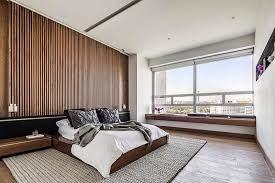 an accent wall of vertical wood helps