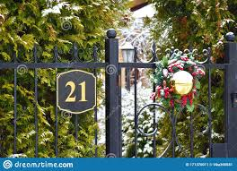 Winter Christmas Decoration On The Fence Of The House Beautiful New Years Balls On The Fence Of The Cottage Stock Image Image Of Architecture Entrance 171370011