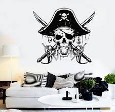 Vinyl Wall Decal Pirate Sabers Skull Captain Sea Style Stickers Unique Gift 1401ig Wall Decals Vinyl Wall Decals Vinyl Wall Stickers