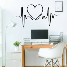 heart beat design wall decal for s