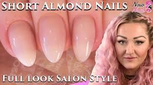 salon style short almond shape acrylic