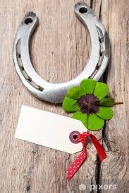 Horseshoe And Four Leaf Clover With Empty Tag Sticker Pixers We Live To Change