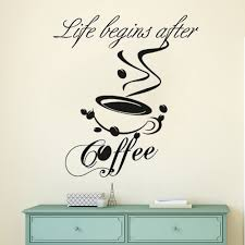 Coffee Quote Vinyl Wall Sticker Kitchen Cafe Shop Decoration Coffee Cup Wall Decal Removable Cafe Logo Wall Art Mural Ay1209 Wall Stickers Aliexpress