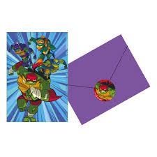 Invitaciones De Las Tortugas Ninja Power 6 Por Solo 3 95