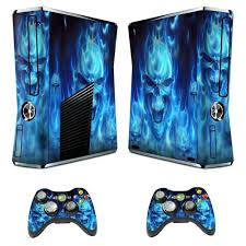 Vinyl Decal Protective Skin Cover Sticker For Xbox 360 Slim Console And 2 Controllers Skull Of Blue Fire Walmart Com Walmart Com