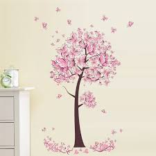 Pink Butterfly Flower Tree Wall Stickers Decals Girls Women Flower Mural Vinyl Wallpaper Home Living Room Bedroom Decor Bedroom Decor Tree Walltree Wall Sticker Aliexpress