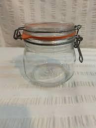vintage arc arc france clear glass jar