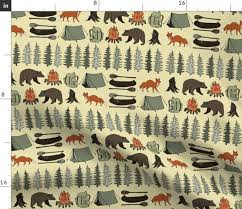 Camping Khaki Campsite Campfire Trees Spoonflower