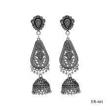silver oxidized jhumki earrings