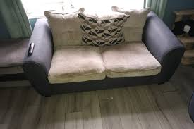 3 and 2 seater sofa and 2 pouffe in