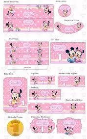 Kit Imprimible Minnie Bebe Invitaciones Cumpleanos 99 00 En