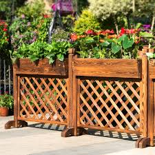 Wood Preservative Fence Planters Flower Boxes Outdoor Courtyard Restaurant Off Decorative Outdoor Flower Pots Balcony Railing Fence