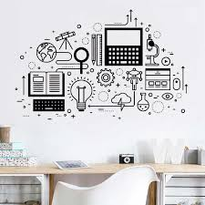 Science Education Vinyl Wall Sticker Computer Technology School Classroom Decor Wall Decal For Office Decortion Wallpaper Z275 Wall Stickers Aliexpress