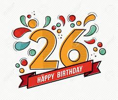 Numero 26 Del Feliz Cumpleanos Tarjeta De Felicitacion Por Veinte
