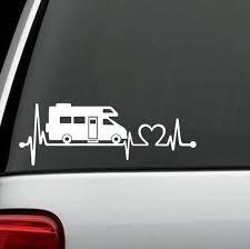 K1152 Rv Recreational Vehicle Camper Travel Trailer Hiker Heartbeat Decal
