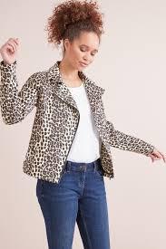 animal print faux suede biker jacket