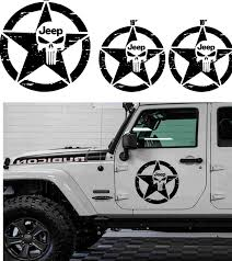 3pcs Star Jeep Wrangler Punisher Hood Vinyl Decal Sticker 4x4 Off Road Ebay Jeep Stickers Jeep Hood Decals Jeep Wrangler