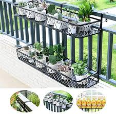 Zengai Plant Stand Double Layer Hanging Railing Planter Balcony Planters Love Pattern Fence Wrought Iron Flower Pot Holder Plant Holder For Indoor And Outdoor Use Color Black Size 4 5cm Amazon Co Uk