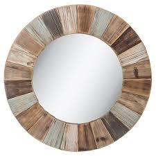 round wood wall mirror large rustic