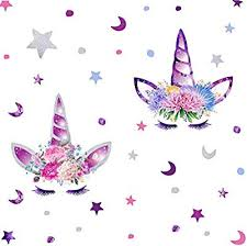 Amazon Com Arttop Cute Unicorn Wall Decal Colorful Moon Stars Flower Unicorn Wall Stickers For Girls Bedroom Nursery Decor Arts Crafts Sewing