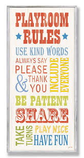 Stupell Industries The Kids Room Playroom Rules Part 2 Typography Wall Plaque Playroom Rules Rainbow Playroom Red Playroom