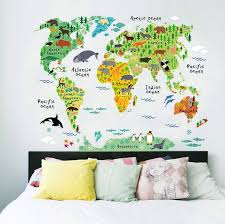 Learn The World By Its Animals With This Kids World Map From Rocky Mountain Decals So Many Cute Kids Room Wall Art Kids Wall Decals Wall Stickers Living Room