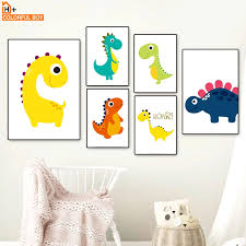 Cartoon Cute Baby Dinosaur Kids Bedroom Nordic Posters And Prints Wall Art Canvas Painting Wall Pictures For Kids Room Boy Girl Painting Calligraphy Aliexpress