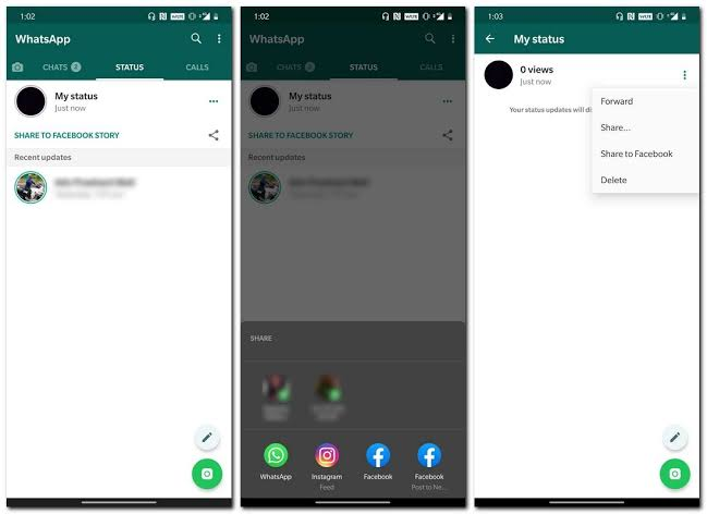 Image result for whatsapp status sharing options""