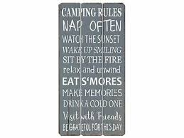 Millwood Pines Camping Rules Wooden Sign Wall Decor Wayfair