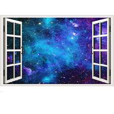 Amazon Com Galaxy Wall Sticker 3d Cosmic Stars Fake Window Wall Decal Blue Space Window View Stickers Milky Way Removable Wall Decals For Bedroom Office Kitchen Dining