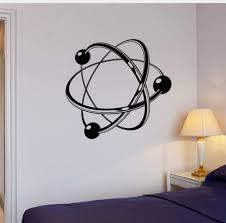 Amazon Com Smydp Atom Electron Science Vinyl Wall Decals Chemistry Nuclear Physics Decor Wall Sticker For Student Education Classroom Decor 56x59cm Kitchen Dining