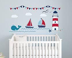 Amazon Com Nautical Theme Fabric Wall Decal Nautical Decor Nursery Wall Decal Whale And Sailbo Baby Nursery Decor Nursery Decor Boy Nursery Wall Decals