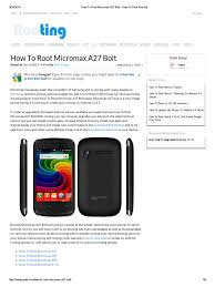 How to Root Micromax A27 Bolt - How to ...