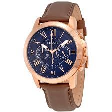 fossil grant chronograph blue dial men