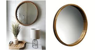 wood barrel frame round mirror 3 80