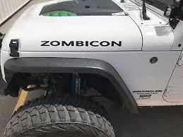 Zombicon Vinyl Hood Decal Sticker For Jeep Wrangler Cj Yj Tj Jk Jl Set Of 2 Ebay