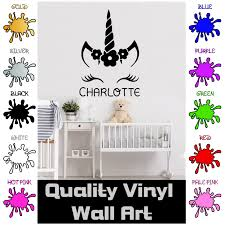 Personalised Vinyl Decal Wall Sticker Unicorn Face Name Window Door 10 Colours 2